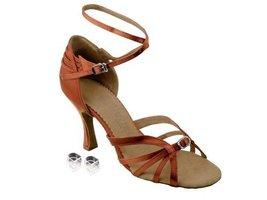 "Very Fine Ladies Women Ballroom Dance Shoes EKSA1145 Dark Tan Satin 3"" Heel (8M) - $65.95"