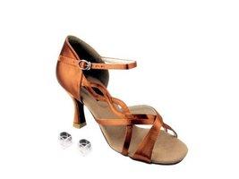 "Very Fine Ladies Women Ballroom Dance Shoes EKCD2088 Dark Tan Satin 3"" Heel (9M) - $79.95"