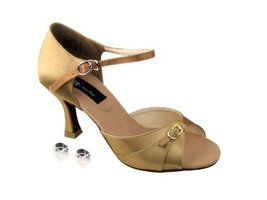 "Very Fine Ladies Women Ballroom Dance Shoes EKCD2158 Tan Satin 3"" Heel (8M) - $79.95"