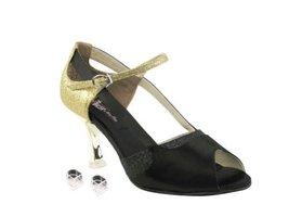 "Very Fine Ladies Women Ballroom Dance Shoes EKCD3006 Black Satin & Gold 2.5"" ... - $79.95"