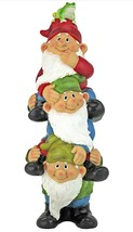Three Gnomes Totem Pole Outdoor Garden Funny Lawn Gnome Statues (a) - $148.49