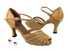 Very Fine Ladies Women Ballroom Dance Shoes EK2719 Beige Brown Leather & Fles... - $64.95