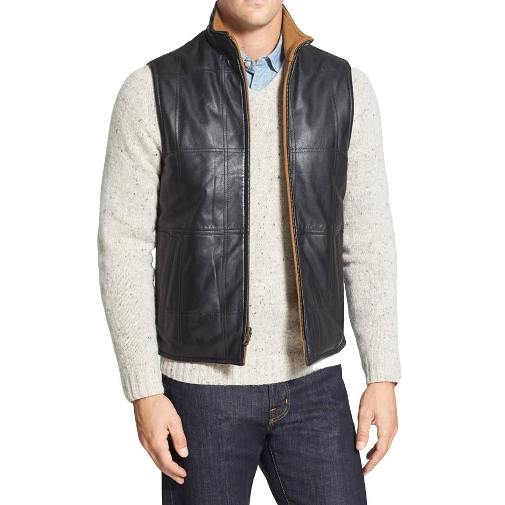 High Collar Men Leather Vest