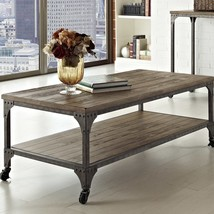 Coffee Table Rustic Antiqued Metal Frame Wood Shelve Living Room Furnitu... - $377.97