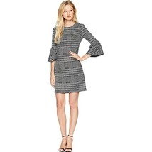 Calvin Klein Women's Ponte Plaid Bell Sleeve Sheath Dress, Black/Cream, 16 - $39.60