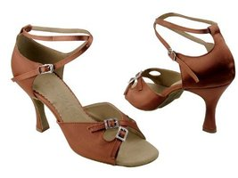 "Ladies' Latin Rhythm Salsa SERA1153 Dark Tan Satin 3"" Heel (8) - $65.95"
