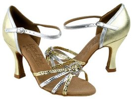 "Ladies' Latin Rhythm Salsa Signature S9282 Gold & Silver Braid 2.5"" Heel (5) - $75.95"