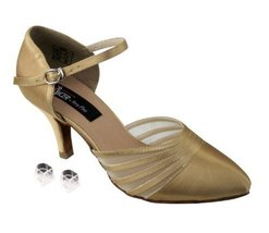 "Very Fine Ladies Women Ballroom Dance Shoes EKCD6033 Tan Satin 2.75"" Hee... - $79.95"