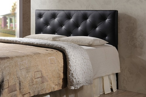 queen black headboard faux leather bedroom bed modern button tufted wood frame headboards. Black Bedroom Furniture Sets. Home Design Ideas