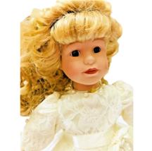 Vintage Porcelain Doll Blonde Girl Curly Locks Brown Eyes White Lace Bea... - $24.63