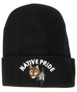 Native Pride Cuffed Knit Black Winter Hat Beanie (Wolf) - $9.99