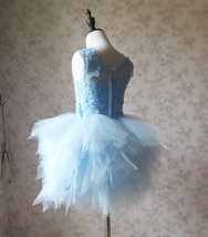 A-Line/Princess Knee-length Flower Girl Dres Blue Tulle/Lace Flowers Puffy 4-16 image 5
