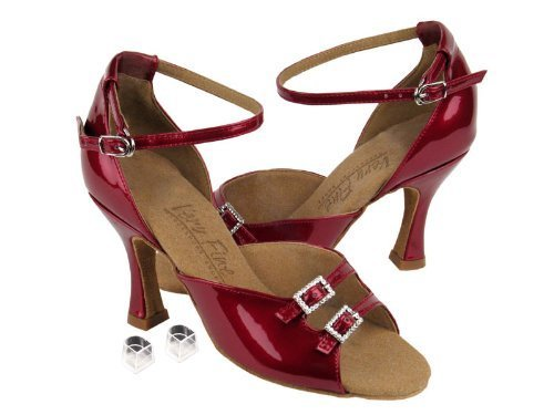 "Primary image for Ladies Women Ballroom Dance Shoes for Latin Salsa Tango C1620 Red Patent 3"" W..."