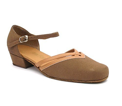 Very Fine Ladies Women Ballroom Dance Shoes EK8881 Brown Nubuck & Beige Brown...