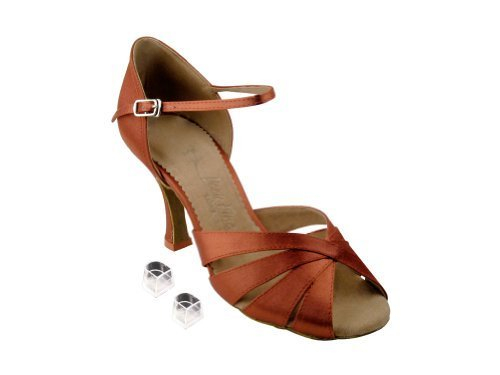 "Primary image for Very Fine Ladies Women Ballroom Dance Shoes EKSA1311 Dark Tan Satin 3"" Heel (..."