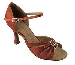 "Very Fine Ladies Women Ballroom Dance Shoes EKSA1131 Dark Tan Satin 2.5"" Heel... - $59.95"