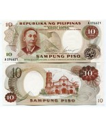 PHILIPPINES 10 PISO .P144  a BANK NOTE MONEY UNC - ₨192.95 INR