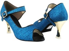 "Ladies Latin Rhythm Salsa Competitive Dancer CD3005 Blue Stardust 2.5"" Gold P... - $79.95"