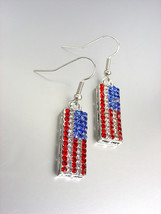 Silver Red White Blue Swarovski Crystals Patriotic USA American Flag Ear... - $12.99