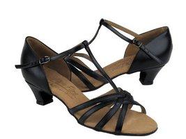 Ladies' Latin Rhythm Salsa Signature S9235 Black Leather Cuban Heel (5.5M) - $75.95