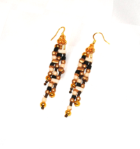 Gold Cream & Olive Dangle Earrings  EA112 - $22.00