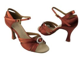 "Ladies' Latin Rhythm Salsa SERA1154 Dark Tan Satin 3"" Heel (5.5) - $65.95"