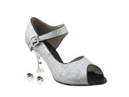 """Very Fine Ladies Women Ballroom Dance Shoes EKCD3005 Silver Stardust 3"""" Silve... - $79.95"""