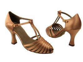 "Ladies' Latin Rhythm Salsa Signature S9177 Tan Satin 3"" Heel (5M) - $75.95"