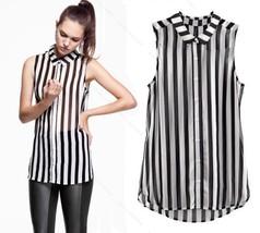 New Fashion Chiffon Top stripes Hot Blouse Slee... - $7.58