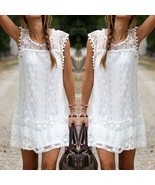 Womens Summer Sleeveless Lace Casual #B Evening Party Cocktail Short Min... - £4.63 GBP