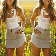 Womens #B Summer Casual Patchwork Sleeveless Party Evening Cocktail Shor... - $8.19