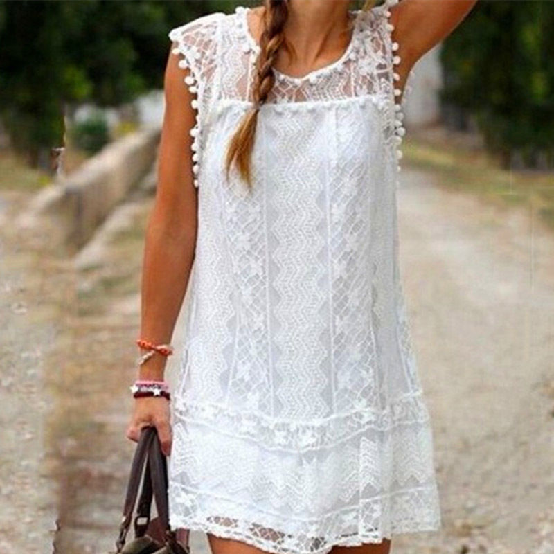 Womens Summer Sleeveless Lace Casual #B Evening Party Cocktail Short Mini Dress
