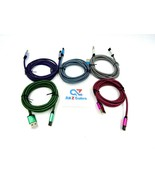 5 Pack USB to Micro USB Charge / Sync Cable 6 ft, Braided (Five Colors) ... - $17.77