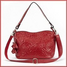 Red Rose Designer Handbag Cross Shoulder Genuine Leather Satchel Removable Strap
