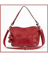 Red Rose Designer Handbag Cross Shoulder Genuine Leather Satchel Removab... - $118.95
