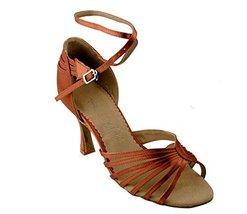 "Very Fine Ladies Women Ballroom Dance Shoes EKSA1139 Dark Tan Satin 2.5"" Heel... - $65.95"