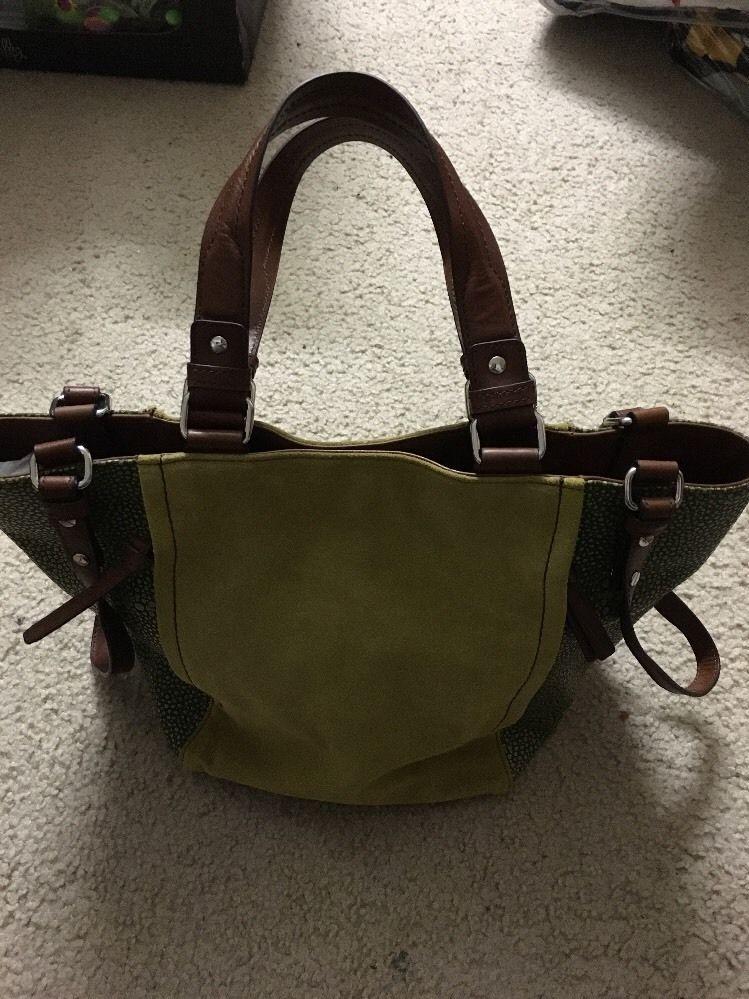 Nanette Lepore Green Suede Leather Strap Tote Handbag