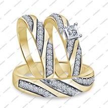 14K Gold Fn. 925 Silver Princess Cut White Sim.Diamond Engagement Trio R... - $167.99
