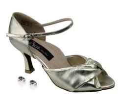 "Very Fine Ladies Women Ballroom Dance Shoes EKCD6043 Light Gold Leather 3"" He... - $79.95"