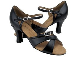 "Ladies Latin Ballroom Party Party PP204 Black Leather 2.5"" Heel (10M) - $75.95"