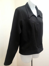 Hugo Buscati Collection L XL Jacket Black Lightweight Zip Up Unlined - $23.49