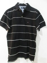 TOMMY HILFIGER Mens Black White Stripe Short Sleeve Polo Shirt Size XS - $24.99