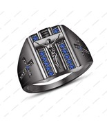 14K Black Gold Plated 925 Silver Blue Sapphire Men's Special For Christm... - $76.86