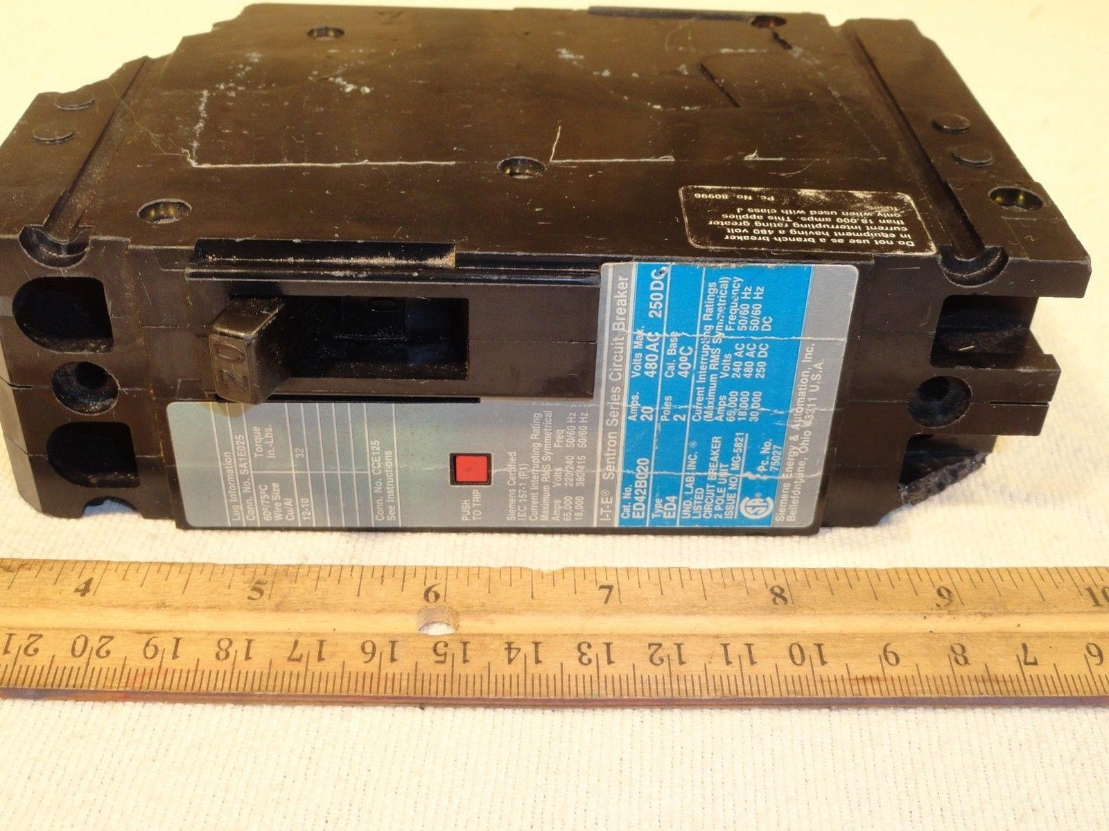 Details About Siemens 5sx21 C5 230 400v 5 Amp Circuit Breaker Ite Sentron Ed42 B020 And 50 Similar Items Ed42b020 2 Pole 480vac 250vdc 20a