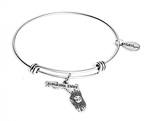 State of Florida Charm Bangle Bracelet (silver-plated-base)