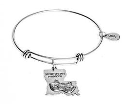 State of Louisiana Charm Bangle Bracelet (silver-plated-base)