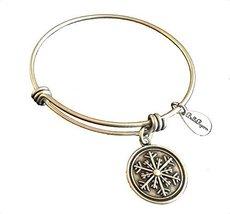 Bella Ryann Snowflake Round Silver Charm Bangle Bracelet