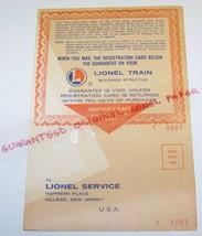 Lionel train 1963  warranty card unused 1-63 no zip  90 day - $50.00