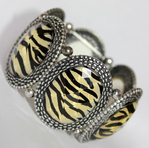 Animal Wild Safari Zebra Print Chunky Acrylic Stretch Bracelet - ₨472.90 INR