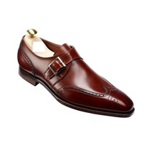 Men fashion wingtip brogue dress leather Monk shoes, Mens leather formal... - $159.99